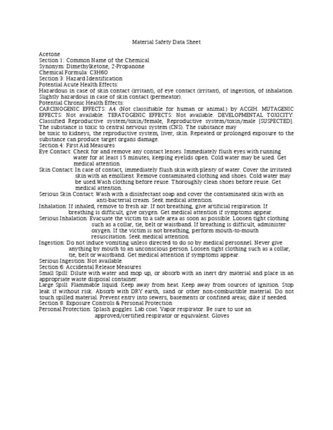 Msds Acetone | Toxicity | Occupational Safety And Health