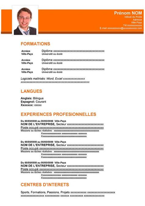 Forme De Cv Word by Exemple De Cv Professionnel Word 224 T 233 L 233 Charger Cv Gratuit
