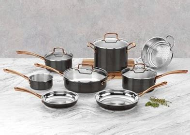 cuisinart onyx black rose gold  pc stainless steel cookware set    shipping
