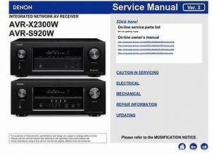 Denon Avr S920w X2300w Service Manual And Repair Instructions