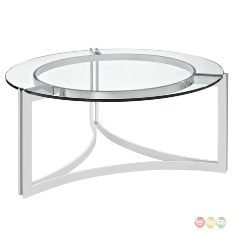 Oval black edge glass top 3 pieces coffee end table setthis 3 piece table set can be a eye catching furniture set of any interior. Signet Modern Stainless Steel Coffee Table w/ Round Tempered Glass Top, Silver