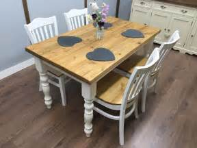 farmhouse table and chairs rustic shabby chic solid pine