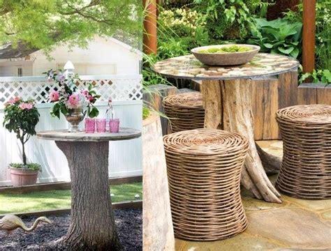 Gartendeko Holz Baumstamm by Outdoor Tisch Aus Massiven Baumstamm Und Runder