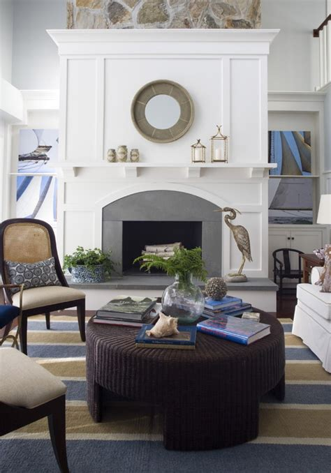 Coastal Living Room Designs with Fireplace