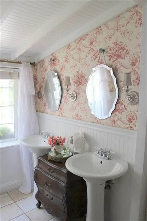 shabby chic bathroom wallpaper pin by country craft house on privy pinterest pedestal sink sinks and cottages