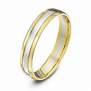 9kt white yellow gold court 4mm wedding ring With white and yellow gold wedding ring