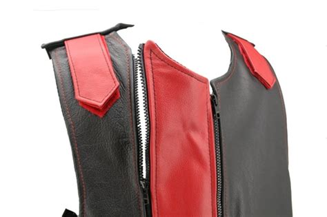 Men's Dual Front Zippered Bulletproof Style Leather Vest