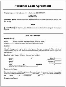 Personal Loan Agreement | Printable Agreements - private ...