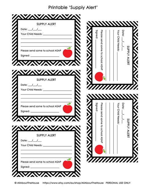 free printable pass and supply alert cards