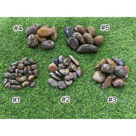 หินแม่น้ำ หินแต่งสวน สีดำ เบอร์ 1,2,3,4,5 | Shopee Thailand