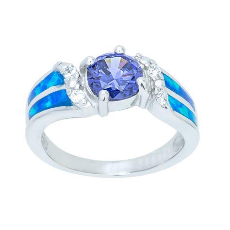 Sterling Silver Blue Opal Ring CZ Amethyst Double Stripe
