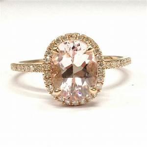 oval morganite engagement ring pave diamond wedding 14k With rose gold morganite wedding rings