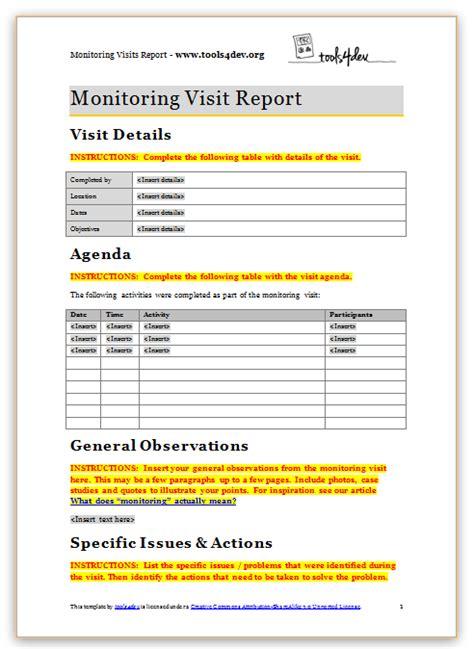 monitoring visit report template toolsdev