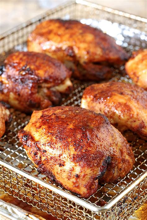 air fryer chicken thighs sugar spices brown delicious culinary creative spice weeknight dinner quick easy recipe oven