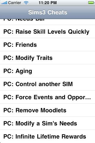 sims 3 iphone cheats sims3 app for iphone reference app by rb