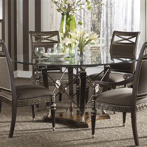 wolf table with glass table top formal grecian style round dining table with glass top by