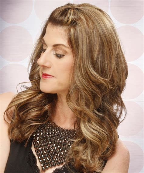 formal long curly half up hairstyle light caramel