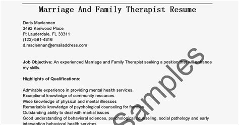 Sle Resume For Marriage And Family Therapist by Marriage And Family Therapist Resume 100 Images
