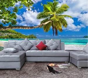 3D Tropical Beach Palm Tree Wallpaper Mural ...