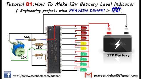 how to make 12v battery level indicator tutorial 81 in ह द youtube
