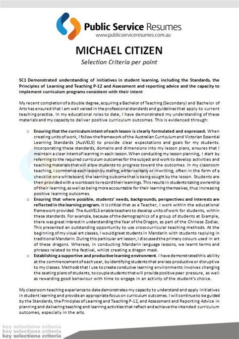 senior executive selection criteria 187 service resumes