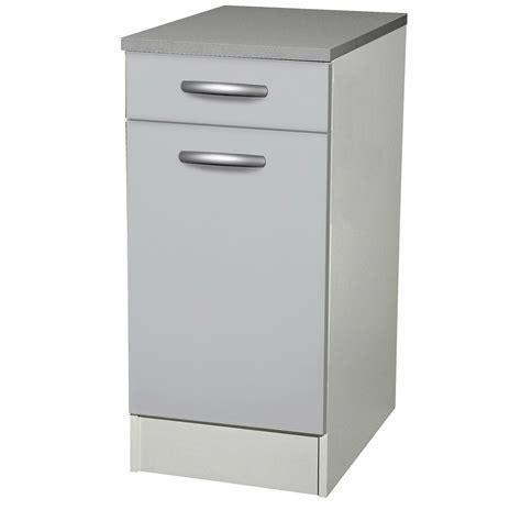 meuble cuisine 100 cm meuble de cuisine bas 1 porte 1 tiroir gris aluminium