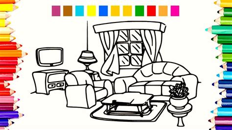Coloring Living Room by Teaching Children How To Draw And Paint Color Living Room