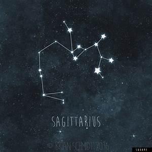 Sagittarius Constellation Art Print Stars Room Decor Zodiac