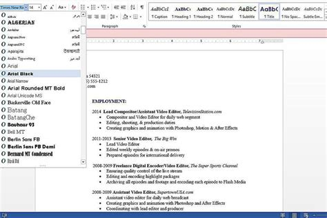 resume and cover letter guide table of contents