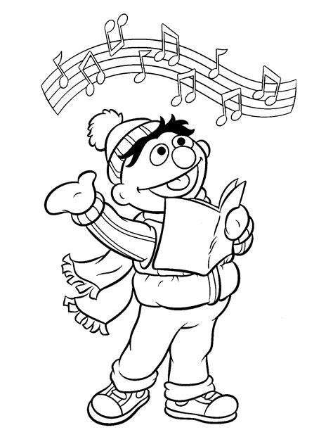 Zingen Kleurplaat by Kleurplaten Bert En Ernie Gratis Kleurplaten Bert En