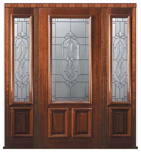 prehung sidelights door  wood mahogany kensington