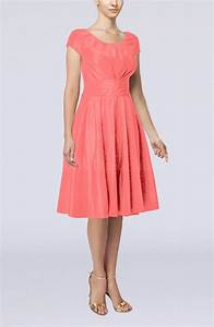 coral simple a line scoop short sleeve taffeta knee length With coral dress for wedding guest