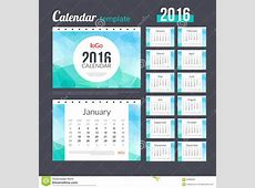 Desk Calendar 2016 Design Template With Triangular Stock