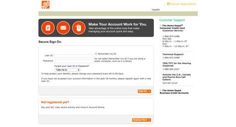 home depot credit card login   payment