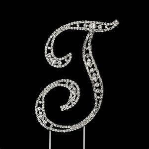 vintage swarovski crystal wedding cake topper letter t With swarovski cake topper letters