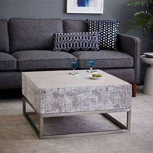 concrete chrome coffee table west elm With concrete coffee table and end tables