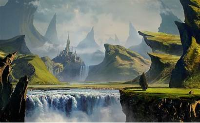 Landscape Castle Deviantart Mountain Fantasy River Nature