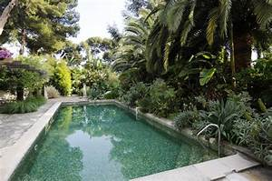 Pool landscape surrounded by greenery Interior Design Ideas