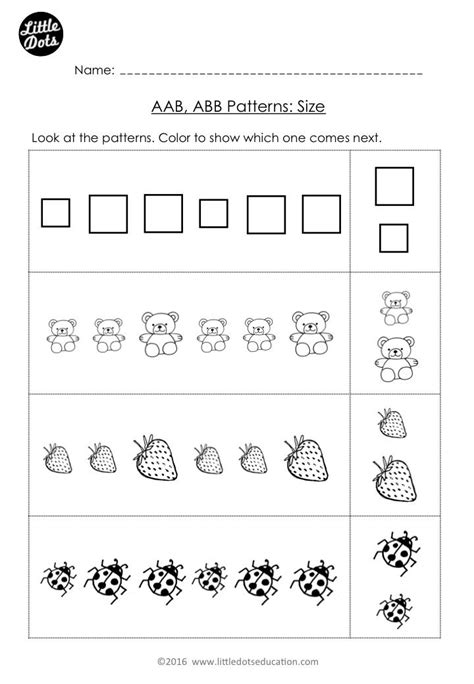 Free Aab And Abb Patterns Worksheet For Kindergarten Level Color The Pictures That Come Next To