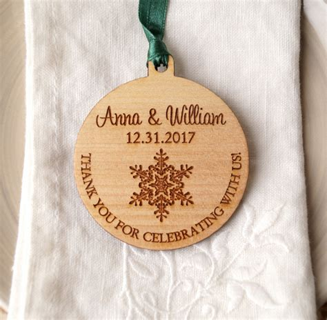 wooden snowflake wedding favor aisle society