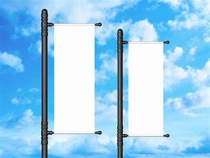 Banner Outdoor Vertical Mockup Branding Psd
