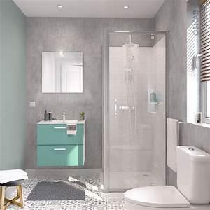 ensemble salle de bains meuble milo vert d39eau plan vasque With salle de bain vert d eau