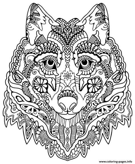 mandalas  print  color  adults cute wolf adult