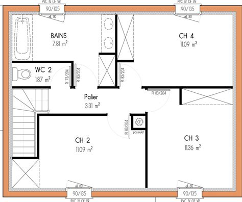 plan etage 4 chambres pin maison traditionnelle 3 chambres de plain pied on