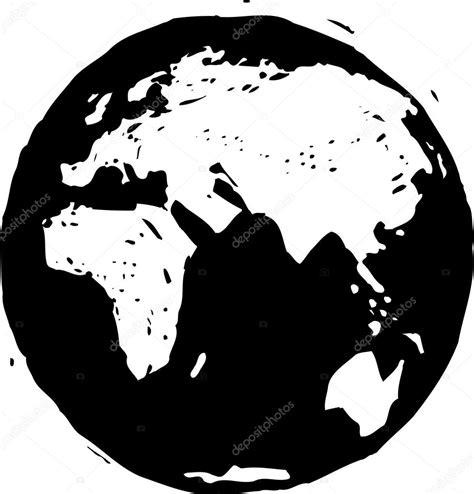 foto de Black and white vector illustration of Earth globe Stock