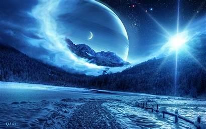 Moon Sun Stars Winter Night Wallpapers Road