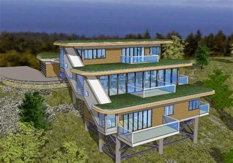 mountain home design ideas   waterfall house sloping lot house plan house  stilts