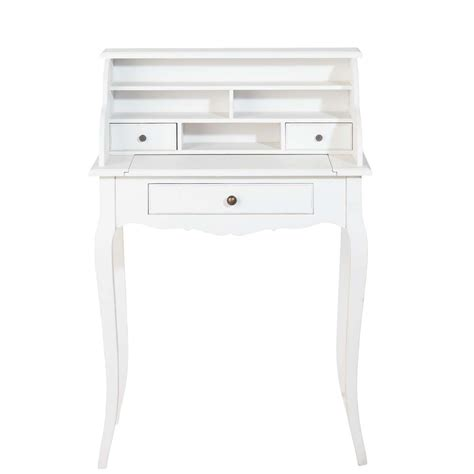 bureau de secretaire bureau secrétaire en bois blanc l 68 cm séraphine