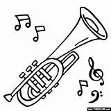 Coloring Instruments Musical Pages Drawings Cornet Instrument Jazz Music Drawing Brass Line Clarinet Preschool Templates Violin Clip Books Cliparts Clipart sketch template