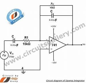 Low Pass Filter  Integrator Circuit Using Op Amp 741
